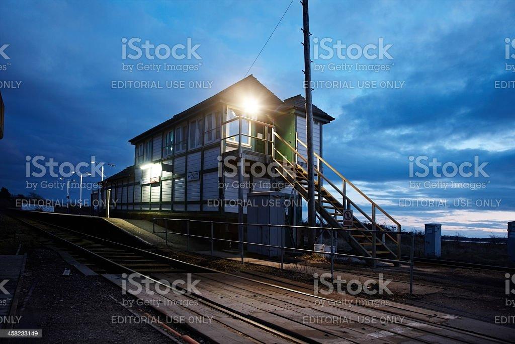Foxfield signalbox at night stock photo