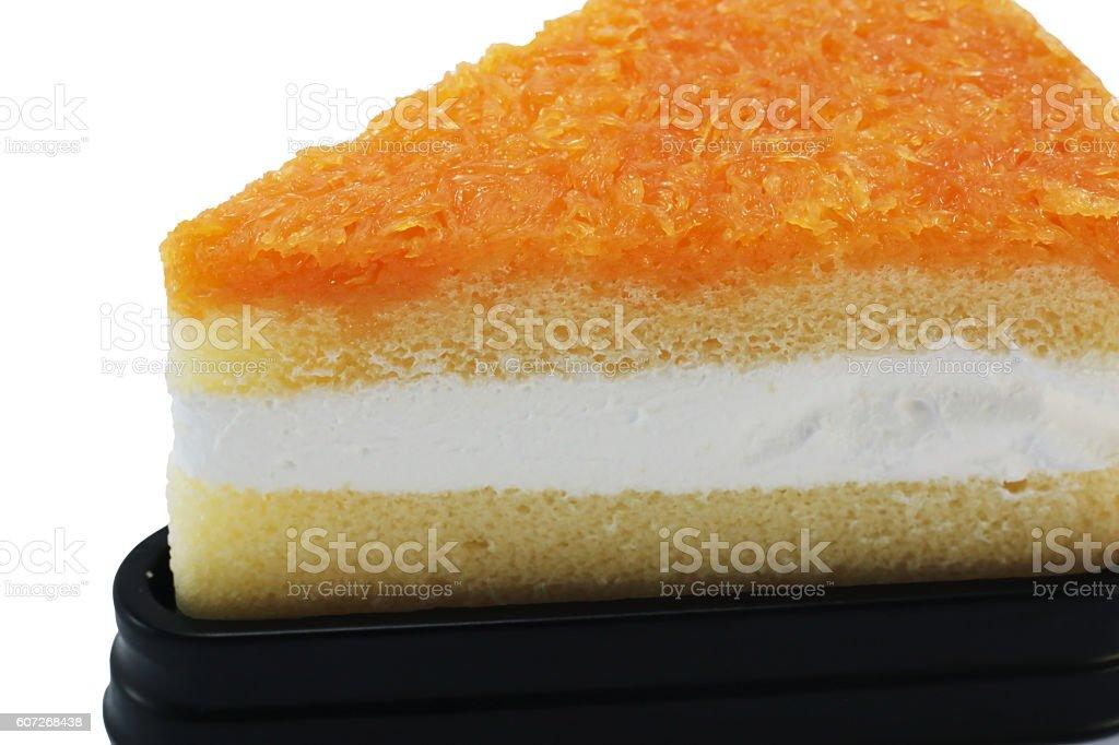 Foy Thong Chiffon cake isolated on white background closeup stock photo