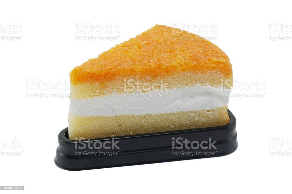 Foy Thong Chiffon cake isolated on white background stock photo