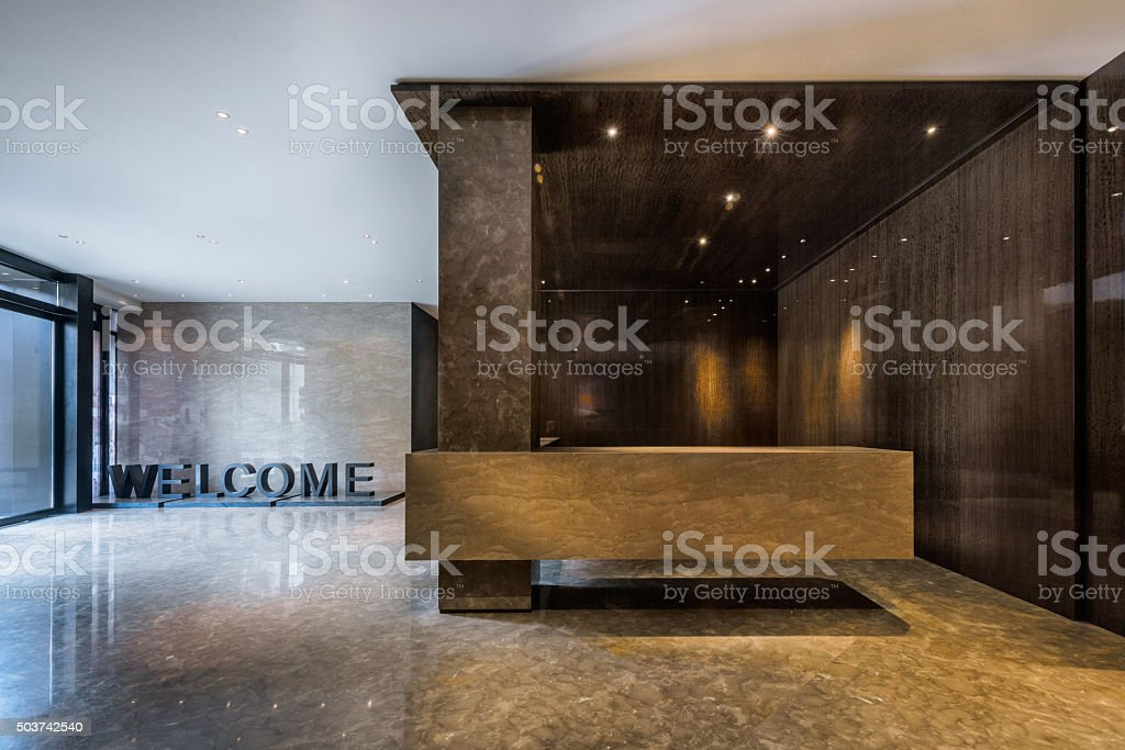 Foyer entrance area of a building stock photo