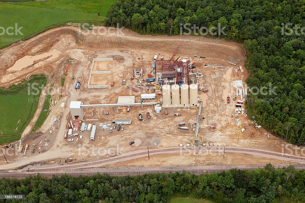 Frac Sand Processing Facility Construction Aerial royalty-free stock photo