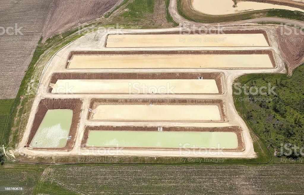 Frac Sand Washing Ponds at a Wisconsin Mine stock photo