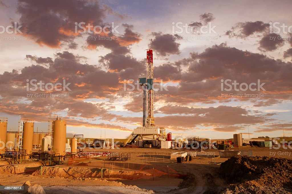 Fracking Drill Rig on the Prairie stock photo