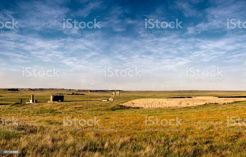 Drill Rig on the Prairie stock photo