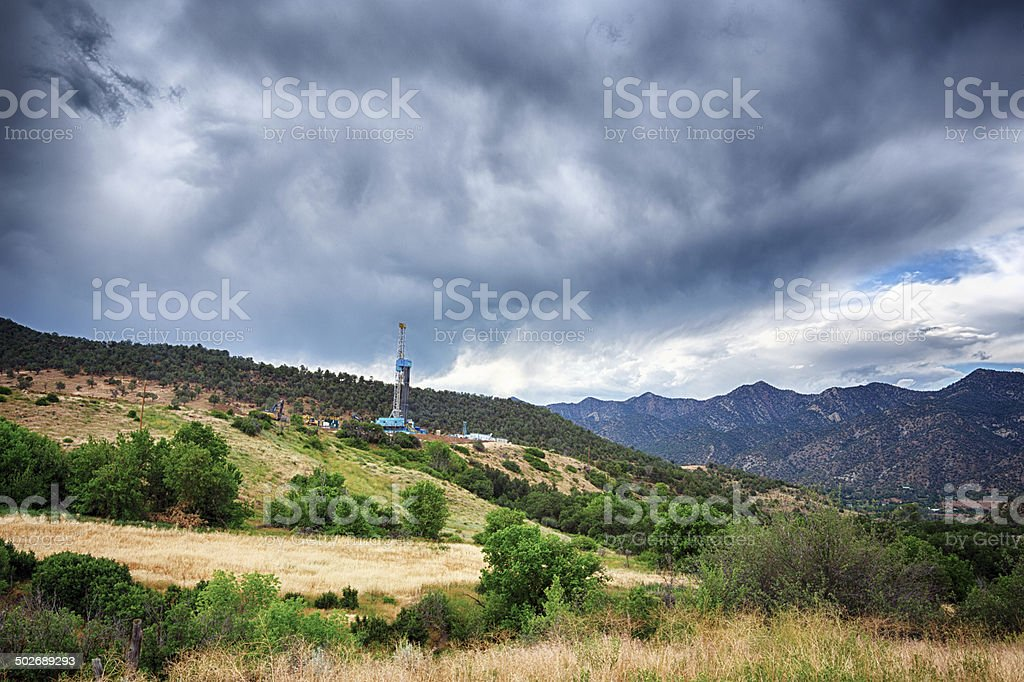Fracking Drill Rig stock photo