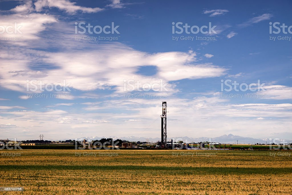 Fracking Fracking Drill Rig on the Prairie at Dusk stock photo