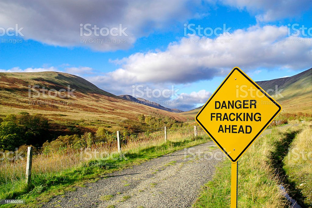Fracking Road Sign stock photo