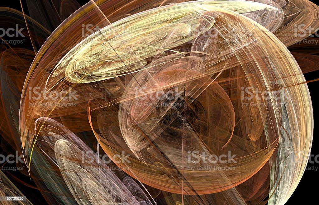 Fractal abstract illustration of ufo-like circles stock photo