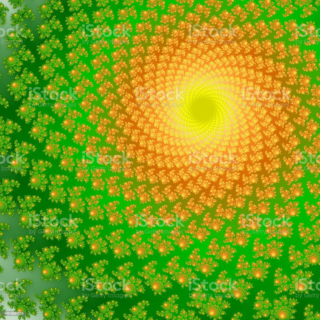 Fractal spiral. Green and orange  ornaments. Computer generated fractal graphics. stock photo