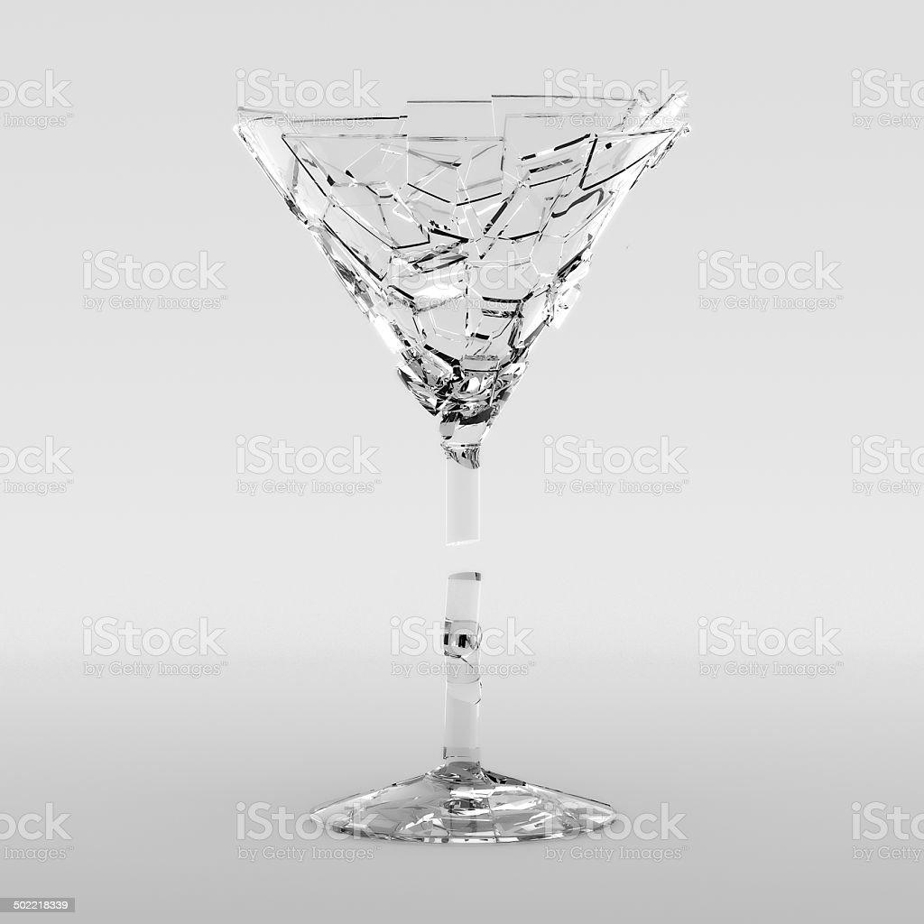 Fractured Martini Glass stock photo