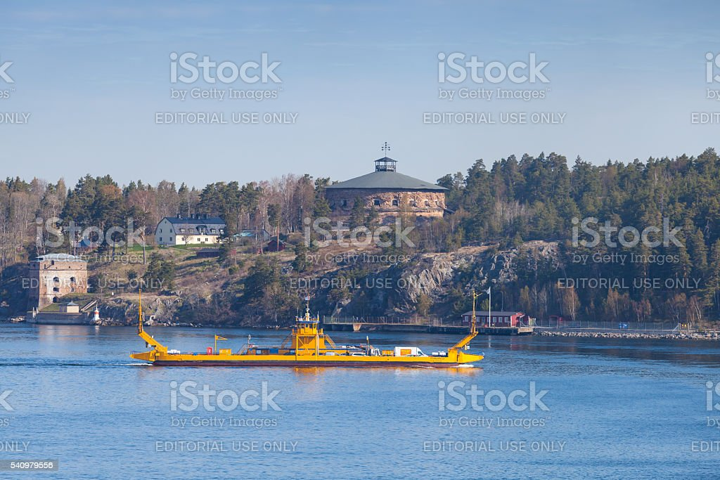 Fragancia by STA Road ferries. Small yellow Ro-Ro stock photo