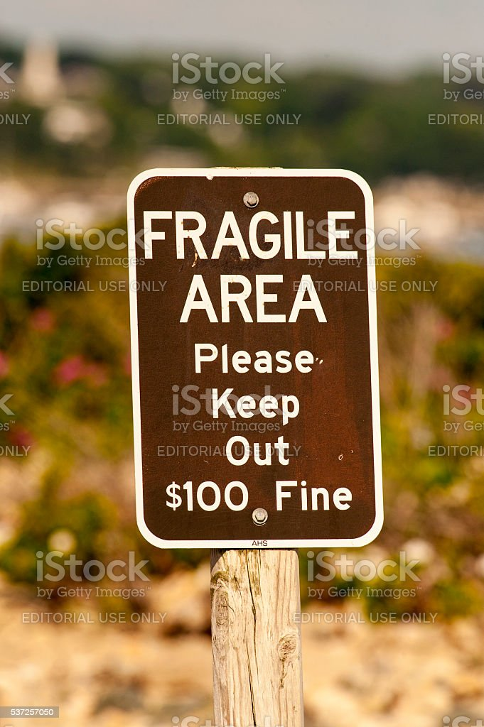 Fragile Area sign stock photo