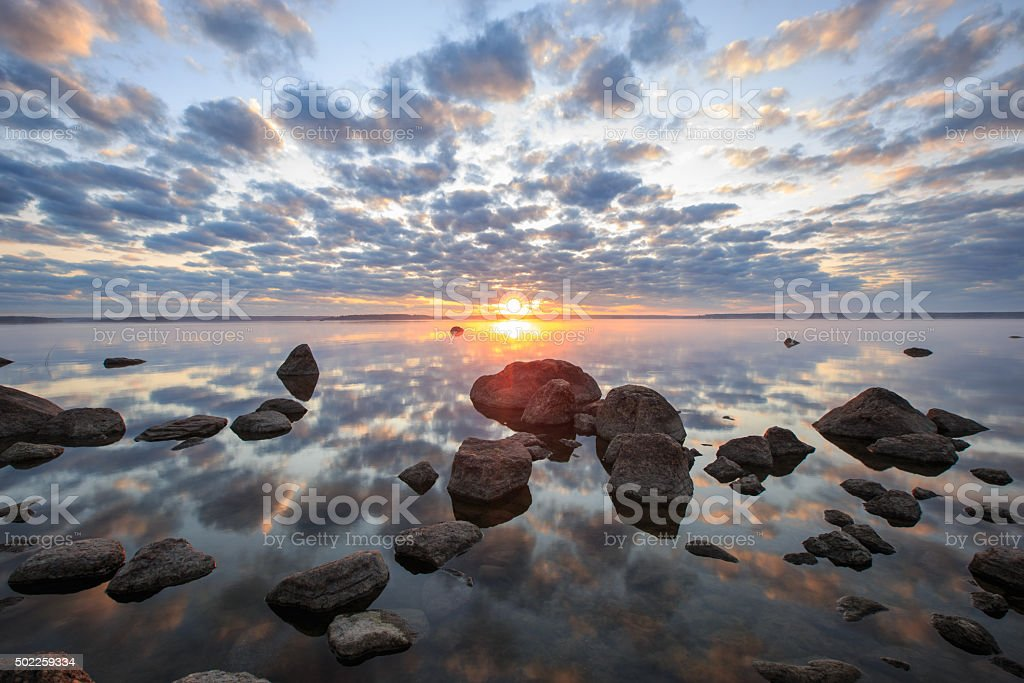 fragile beauty of the moment of sunrise stock photo