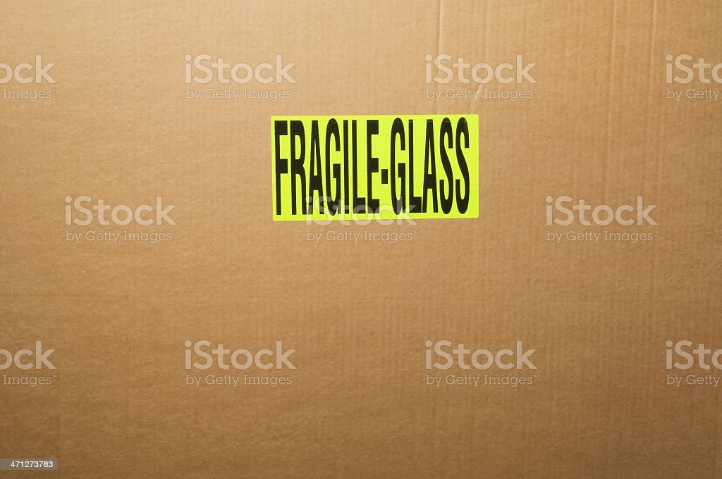 'Fragile Glass' sign on parcel stock photo