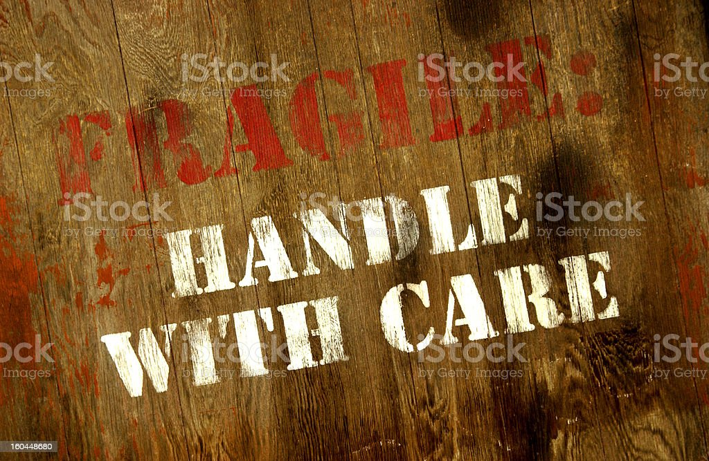 Fragile handle with care sign stock photo