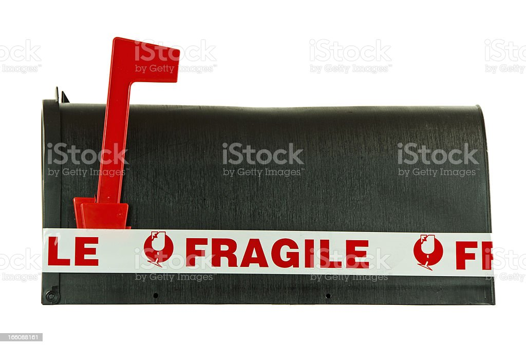 Fragile on Black Mailbox royalty-free stock photo