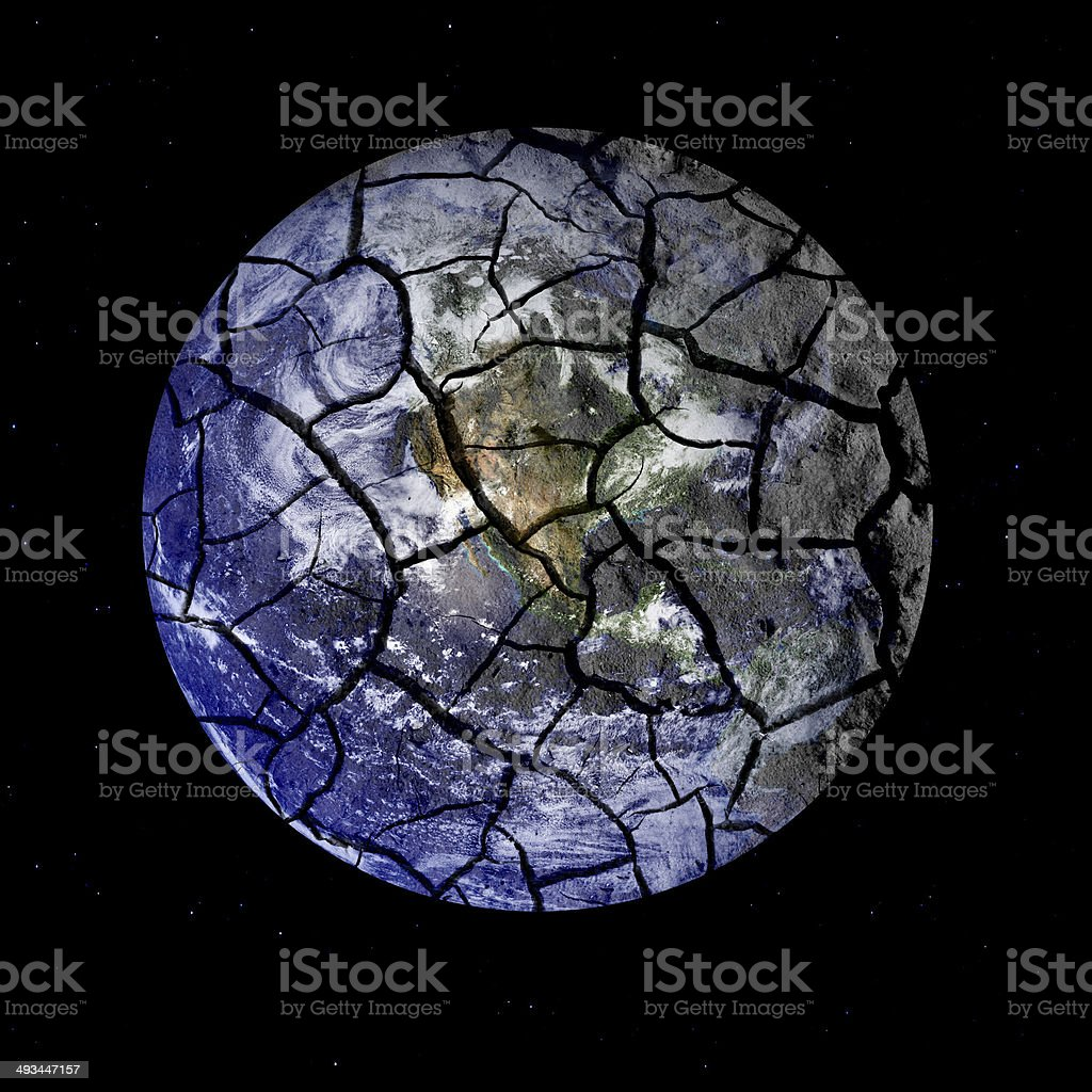 Fragile Planet Earth Cracking Apart in Outer Space stock photo