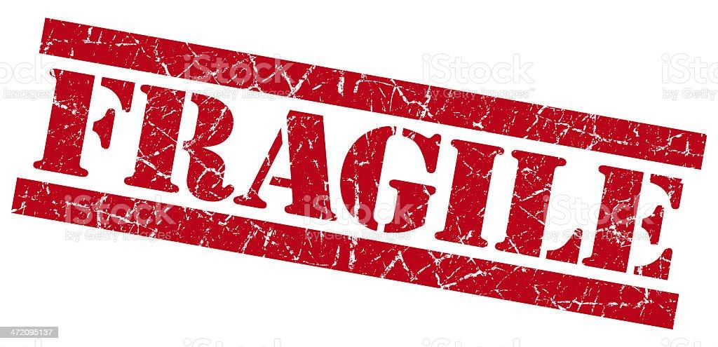 Fragile red grunge stamp stock photo