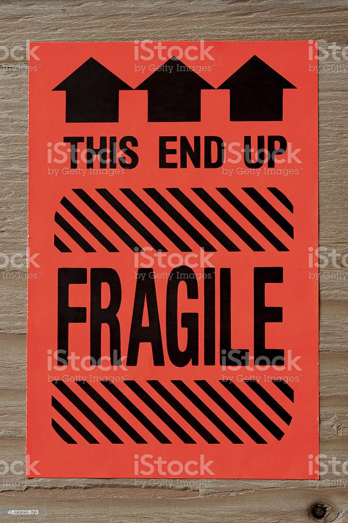 Fragile Warning Label stock photo