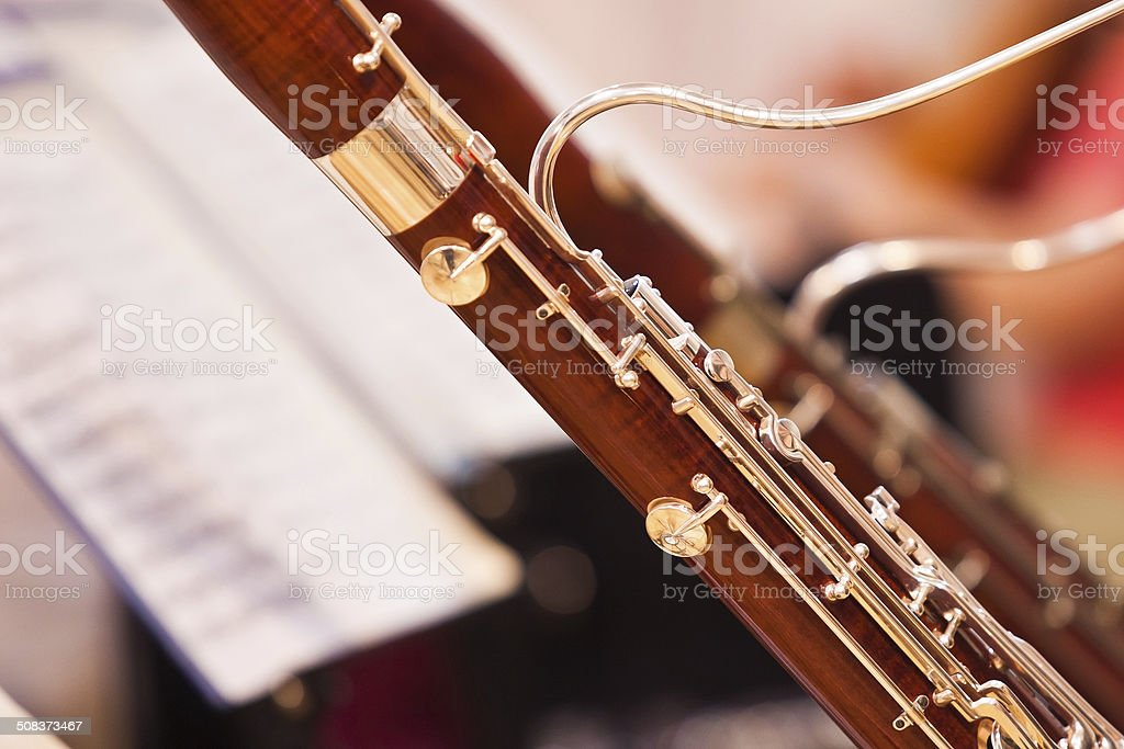 Fragment bassoons close-up stock photo
