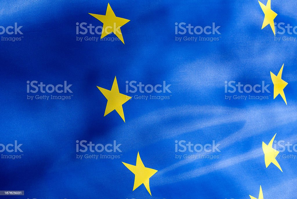 Fragment  flag of  European Union in the sunlight royalty-free stock photo
