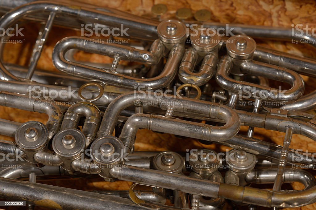Fragment four trumpet  in box stock photo