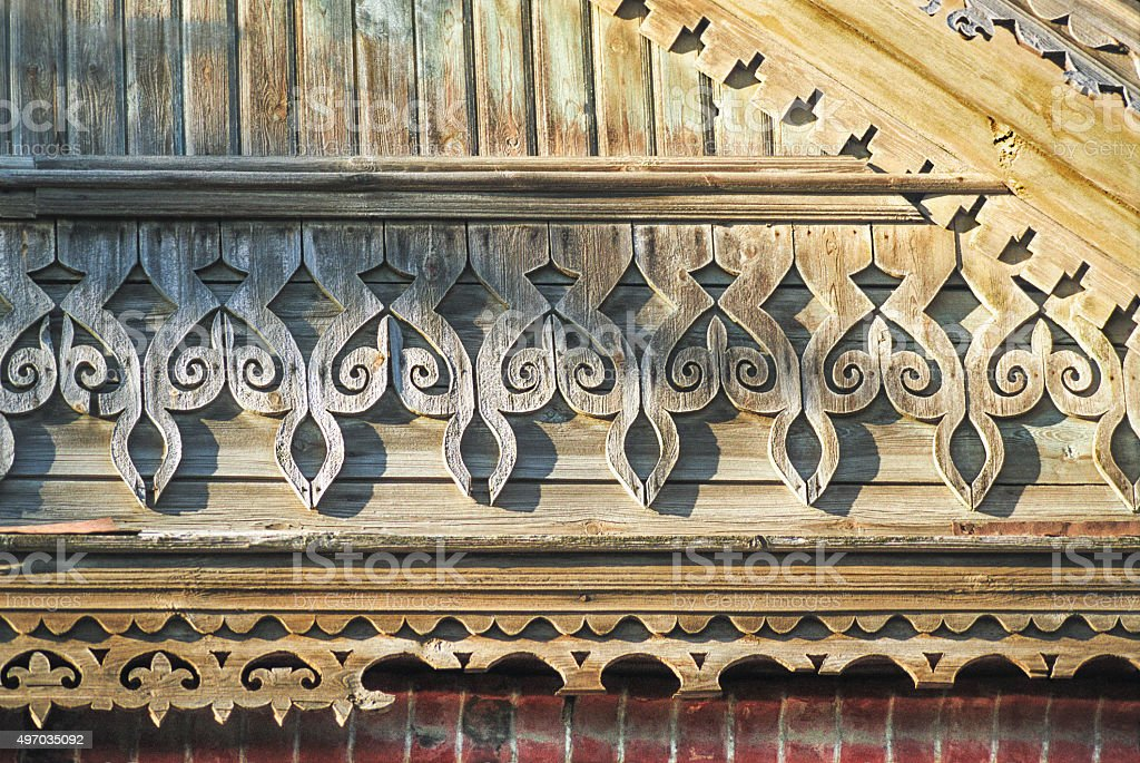 Fragment gable of Old Russian wooden house stock photo