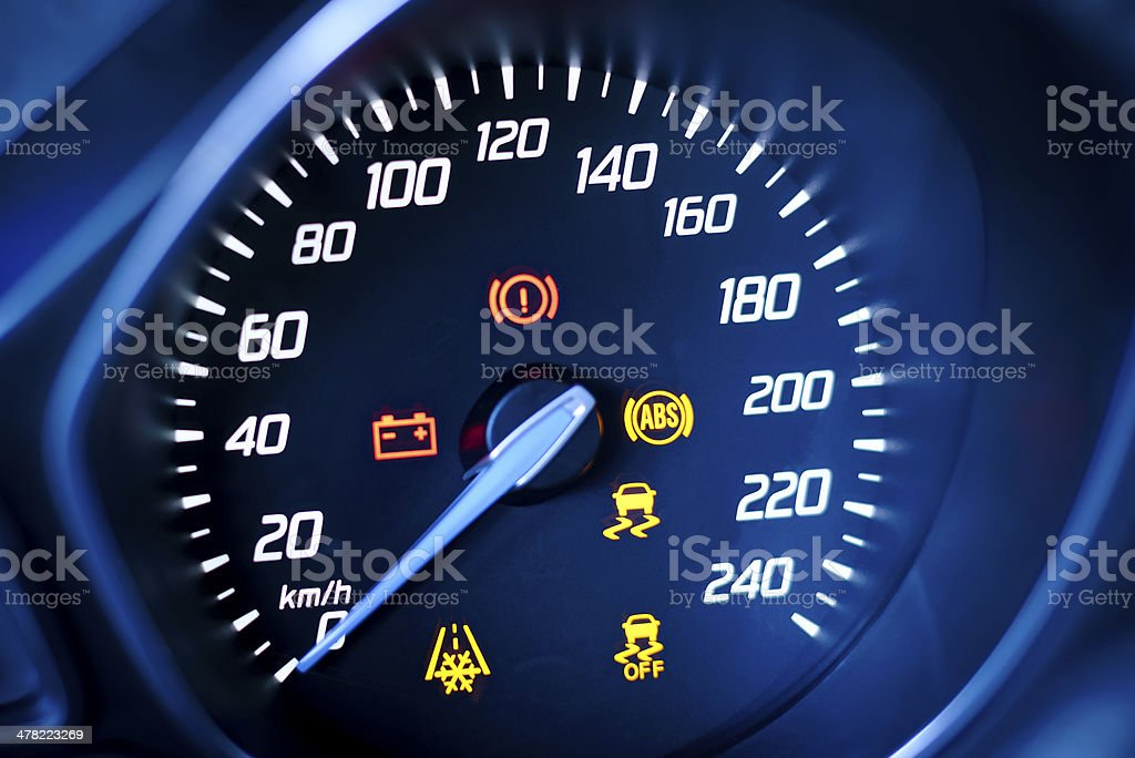 Fragment instrument panel of car speedometer and tachometer. stock photo