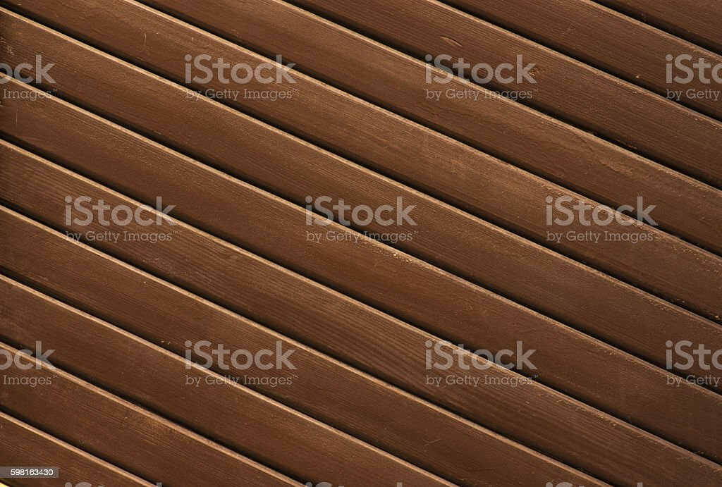 Fragment of a brown wooden fence. stock photo