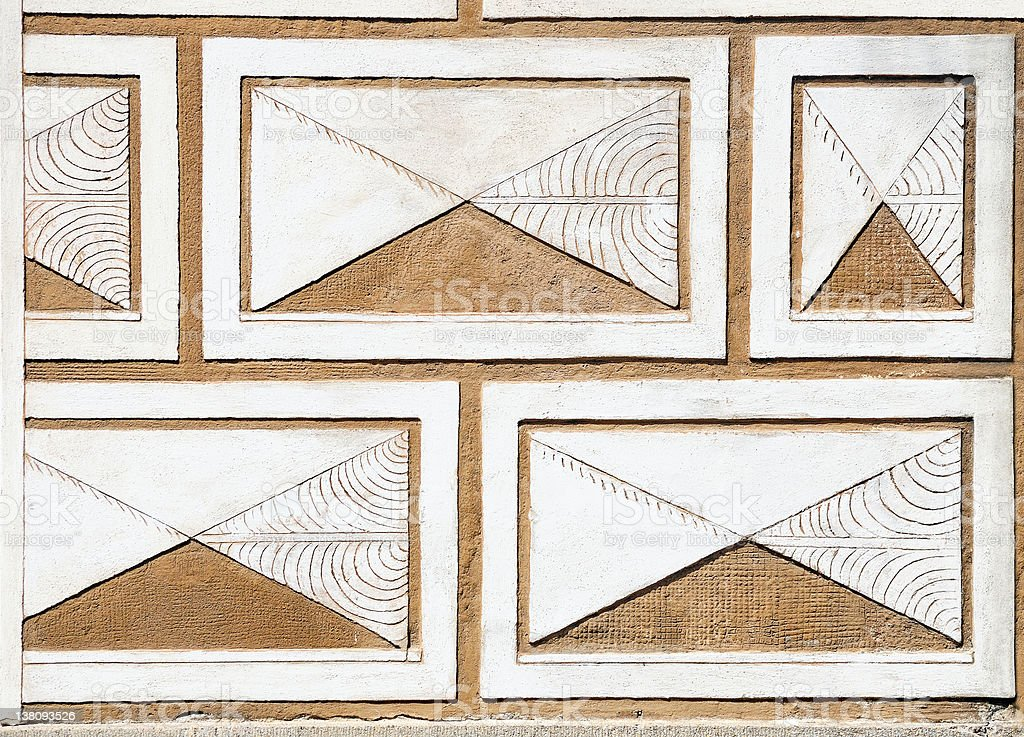 Fragment of a wall decorated with sgraffito royalty-free stock photo