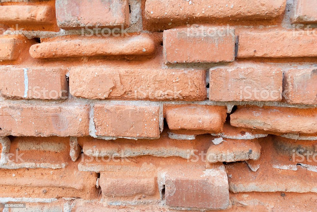 Fragment of a wall of the ancient brick house stock photo
