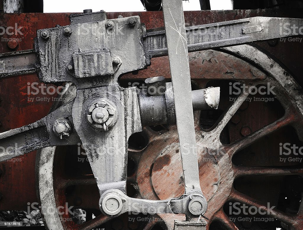 Fragment of a wheel from steam train royalty-free stock photo