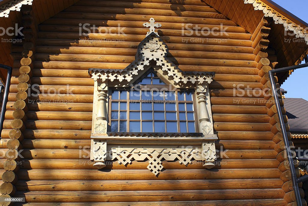 fragment of a wooden church royalty-free stock photo
