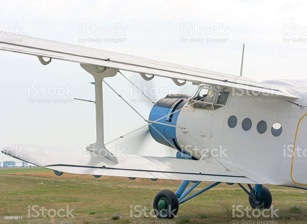fragment of an airplane AN2 stock photo