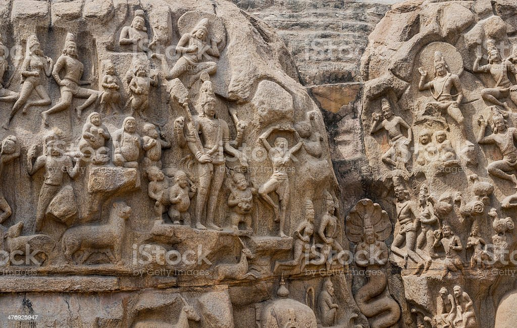 fragment of an ancient sculpture  a bas-relief in Mammallapura stock photo