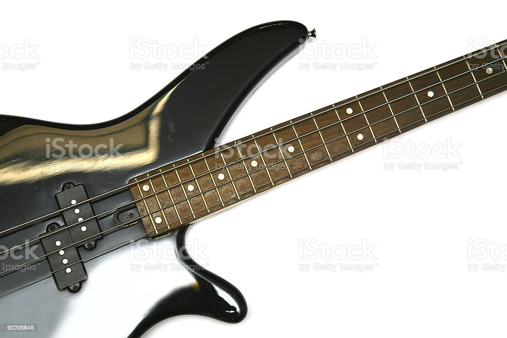 Fragment of black  Bass Electric Guitar With Four Strings stock photo