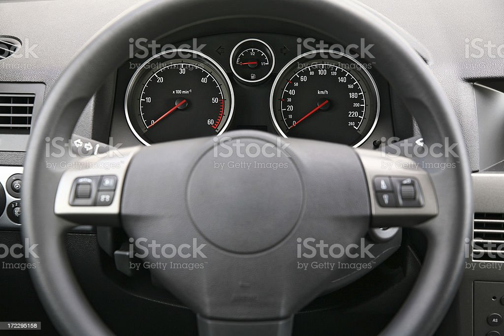 Fragment of car dashboard with steering wheel and meters stock photo