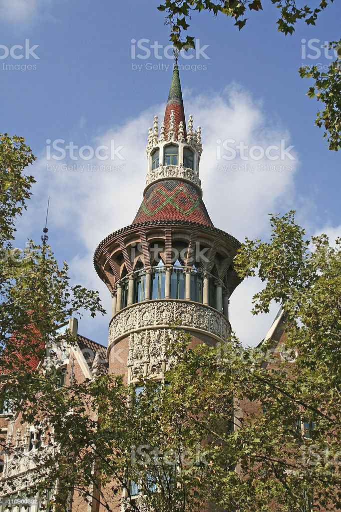 Fragment of casa Serra ('Building with spires') stock photo