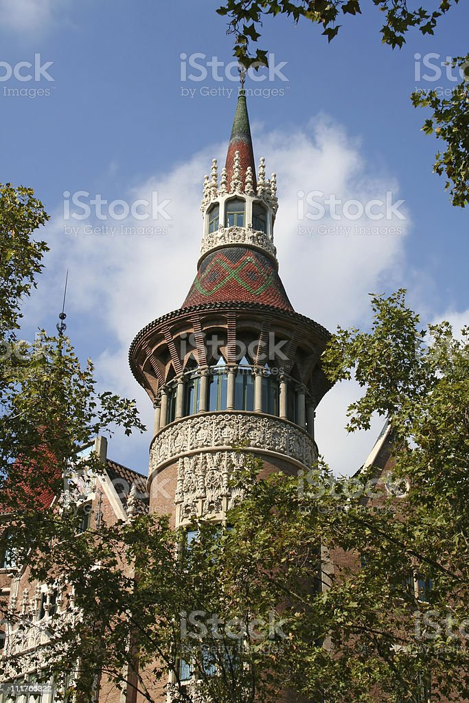Fragment of casa Terradas ('Building with spires') in Barcelona stock photo