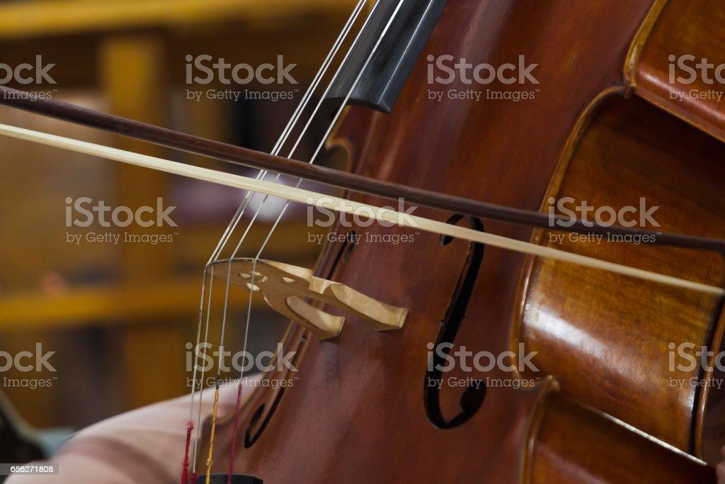 Fragment of cello stock photo