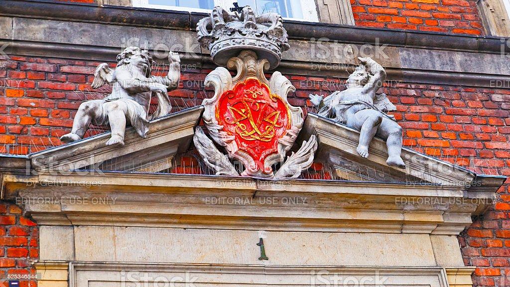 Fragment of Chancery building in Copenhagen stock photo