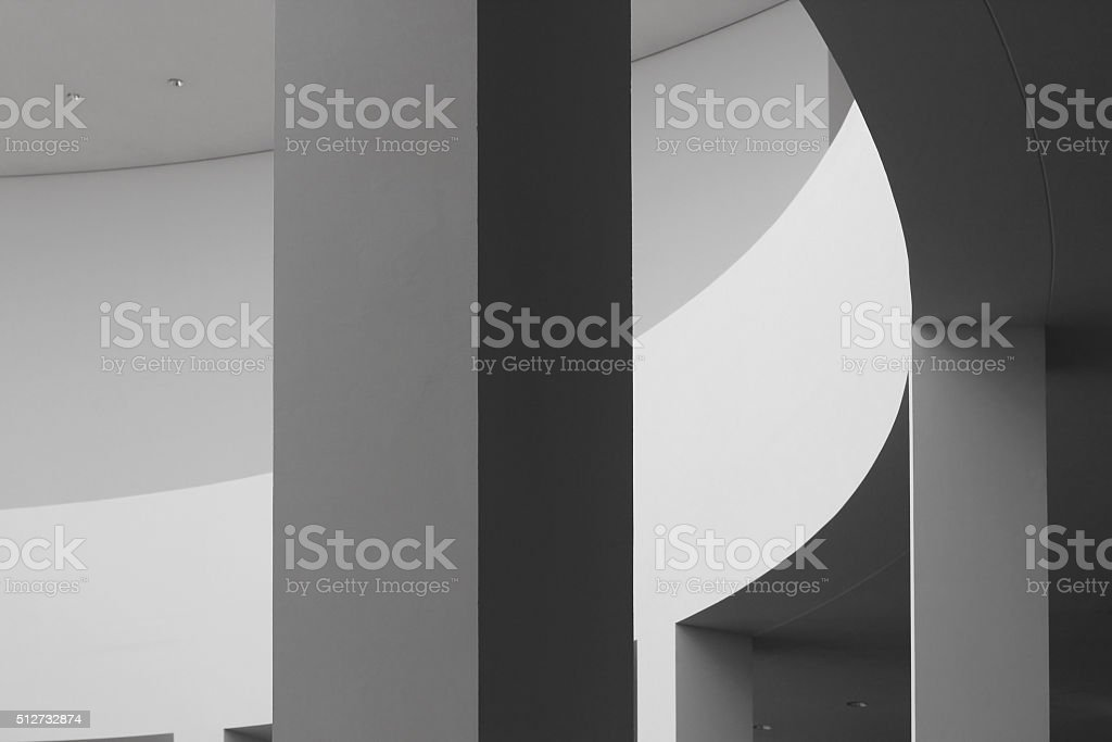 Fragment of contemporary rotunda in minimalism / constructivism style stock photo