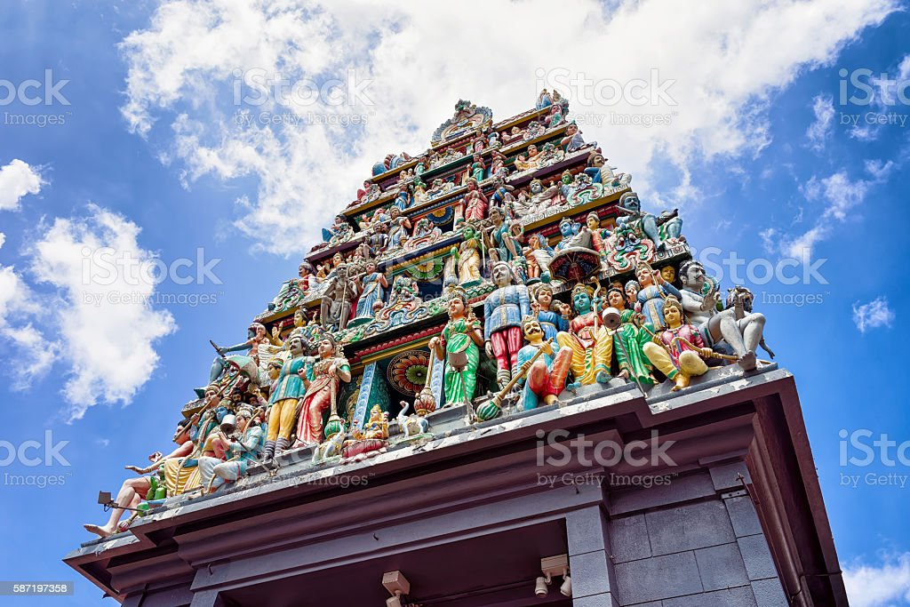 Fragment of decoration in Sri Mariamman Temple in Singapore stock photo