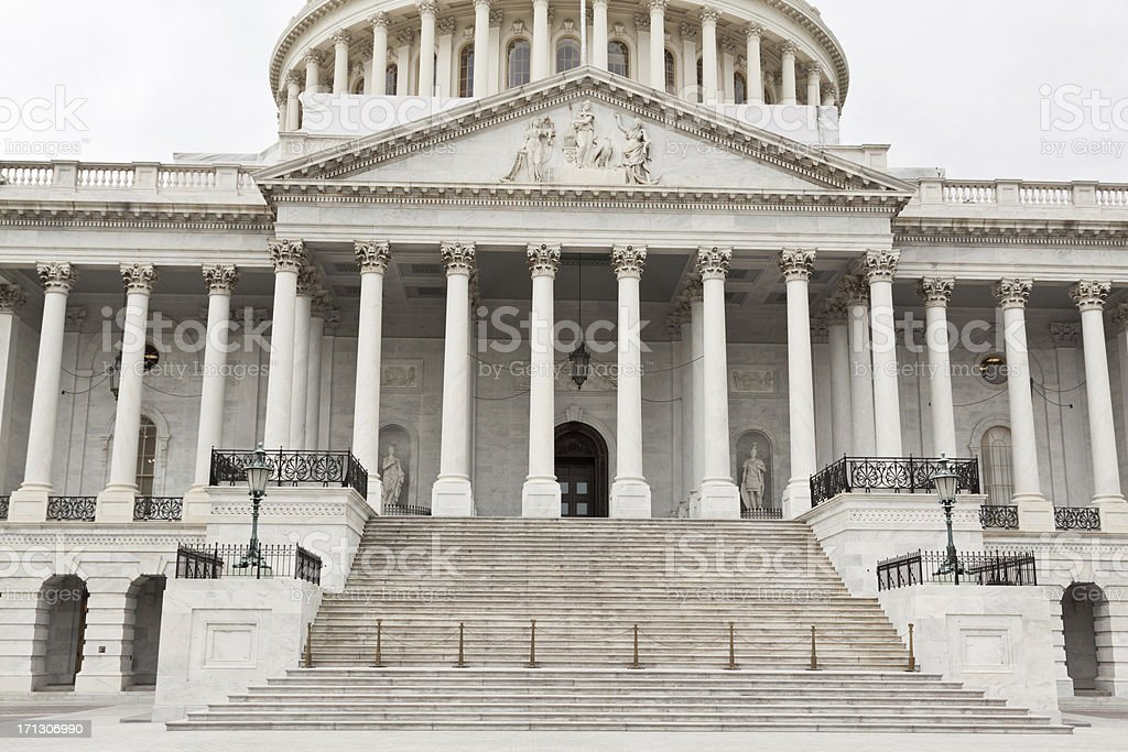 Fragment of East facade of Capitol Building, Washington DC, USA. royalty-free stock photo