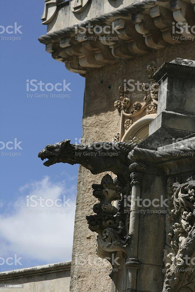 Fragment of fasade Palace Bussaco stock photo