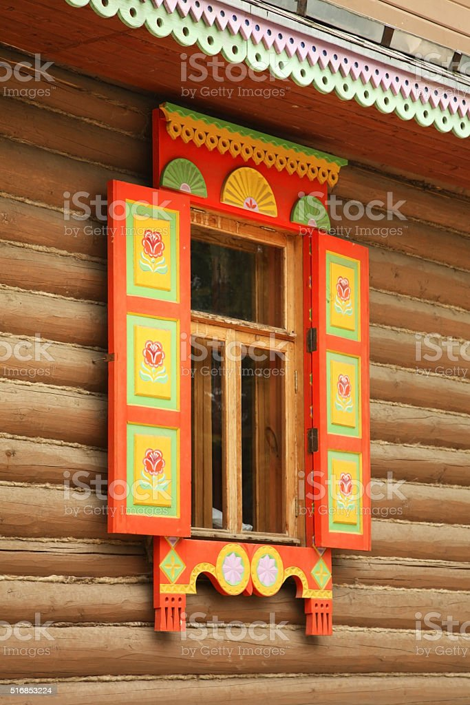 Fragment of House in Pereslavl-Zalessky. Yaroslavl Oblast. Russia stock photo