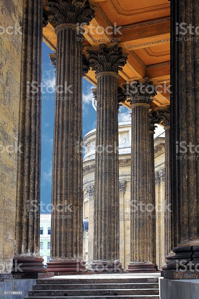 Fragment of Kazan Cathedral in St. Petersburg, Russia stock photo