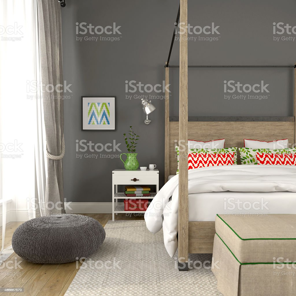 Fragment of modern bedroom with colorful decoration stock photo