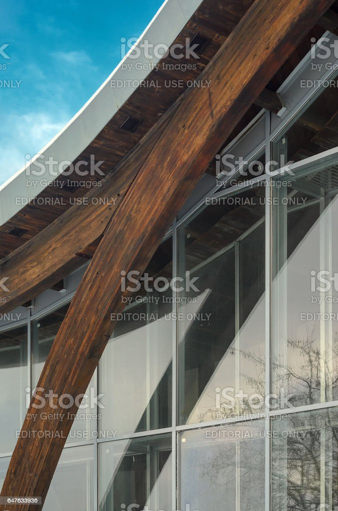 Fragment of modern building with structural glass wall stock photo