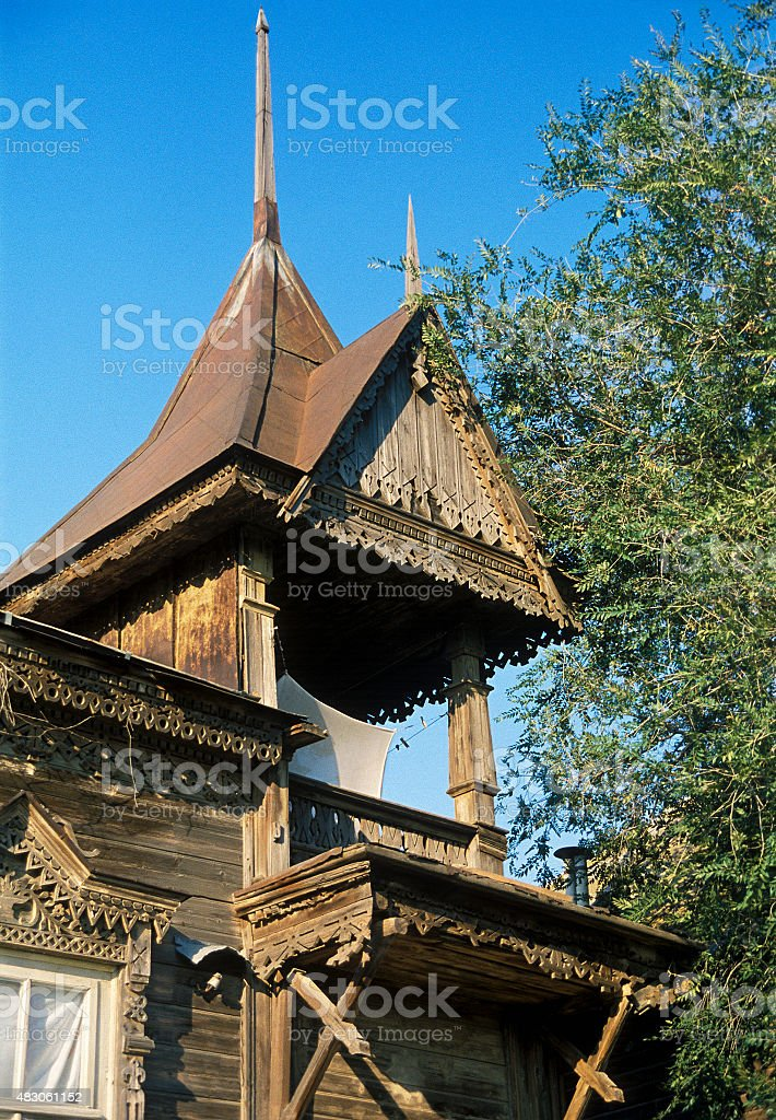 Fragment of Old Russian wooden house . stock photo